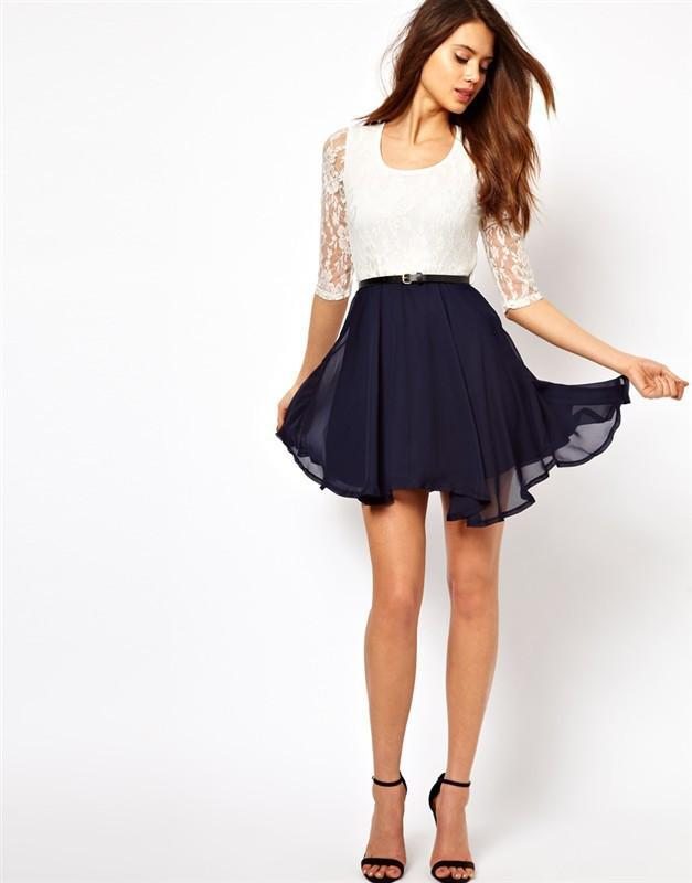 Lace Splicing Short Chiffon With Belt Dress - Shoes-Party - 7