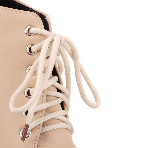 Round Toe Stiletto High Heel Lace Up Ankle Boots - MeetYoursFashion - 14
