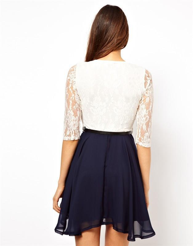 Lace Splicing Short Chiffon With Belt Dress - Shoes-Party - 8