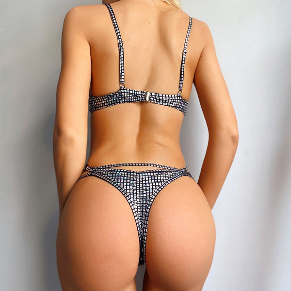 Hot Sequin Cutout High Rise Thong Bottom Bikinis