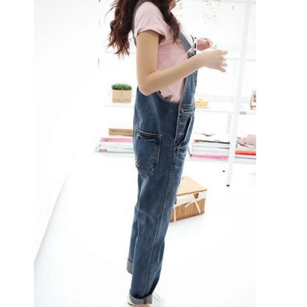 Denim Blue Ripped Holes Overall Jumpsuit