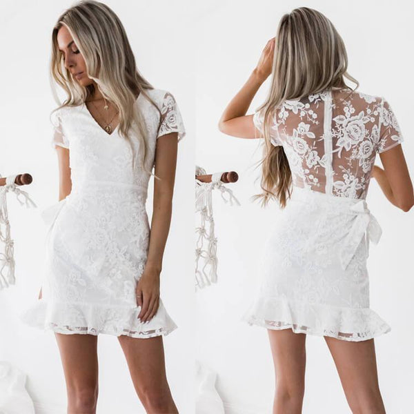 White V Neck Lace Short Dress