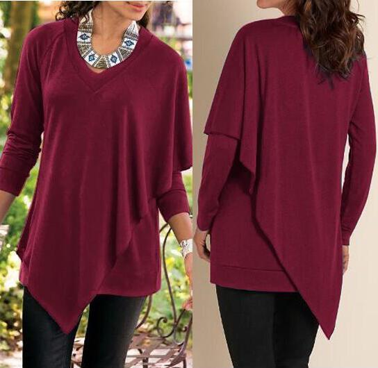 V-neck Pure Color False Two Picture Cloak Blouse