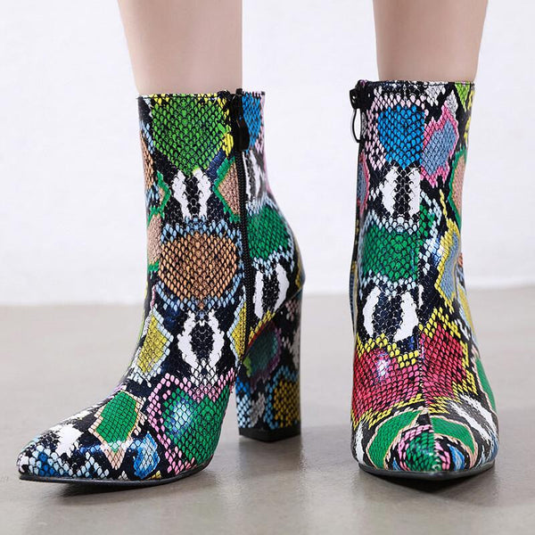 Leather Colorful Snakeskin Pointed Toe High Heel Calf Boots
