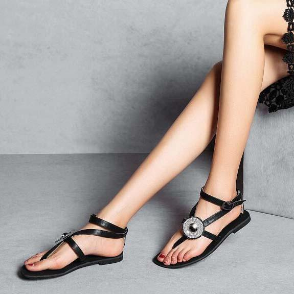 Flat Rhinestone Open Toe Embellished Sandals