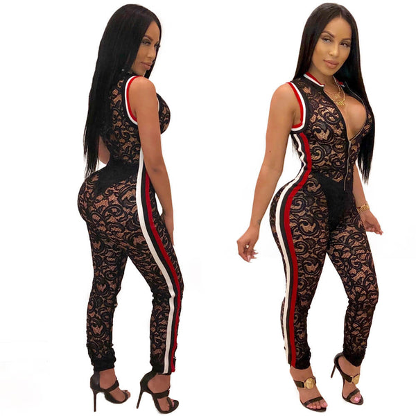 Lace Stripe Patchwork See Through Jumpsuits
