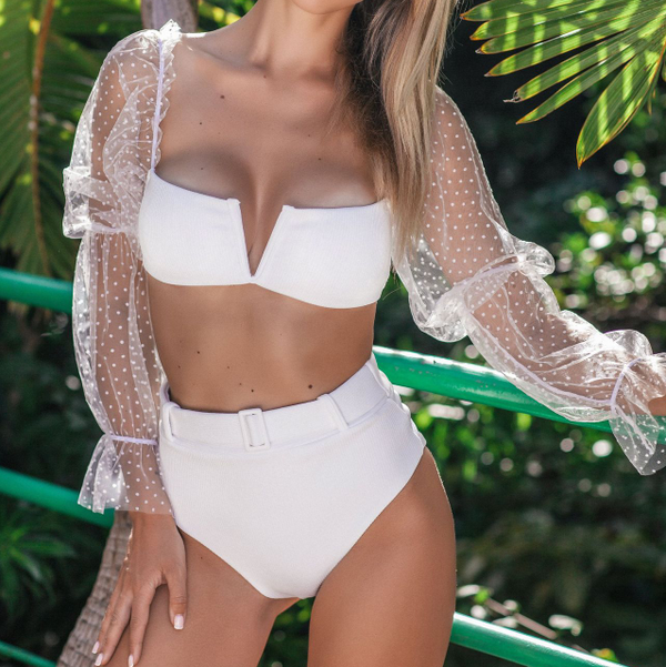 White Mesh Puff Sleeve High Rise Triangle Bikinis