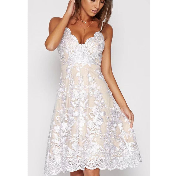 A-line V-neck Flower Print Spaghetti Straps Knee-length Lace Dress