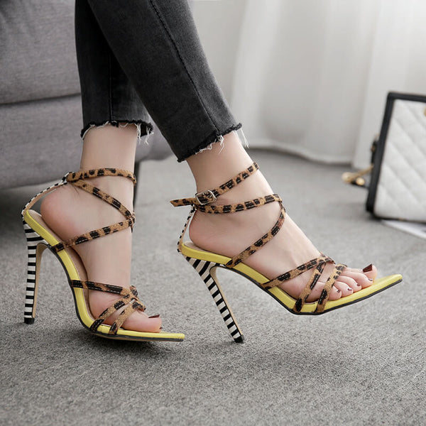 Strap High Heel  Pointed Toe Buckle Sandals