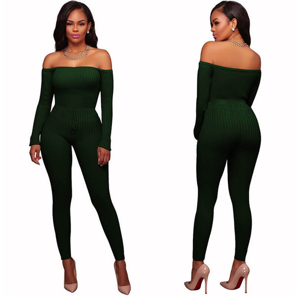 Knit Off Shoulder Bodycon Skinny Jumpsuit