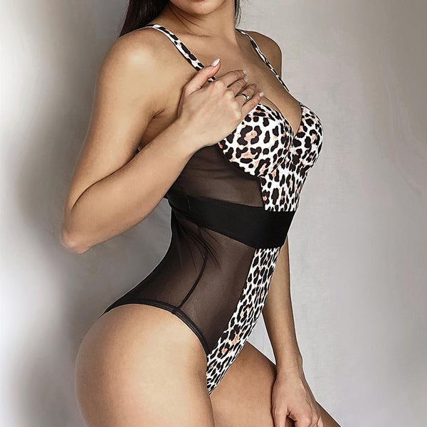 Leopard Mesh Patchwork High Rise High Cut Swimsuit
