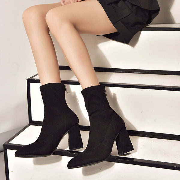 Black  Pointed Toe Suede Zipper Calf Boot