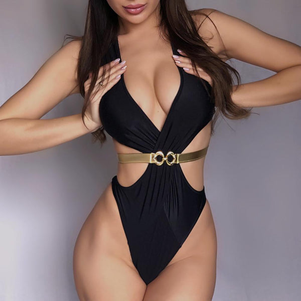 Black Halter Strappy Cutout High Cut Swimsuit