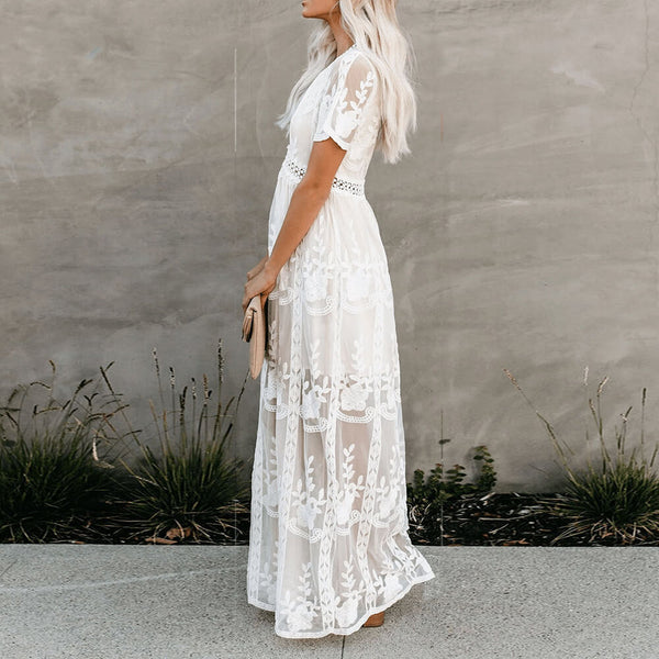 Floral Elegant White Lace Embroidered Maxi Dress