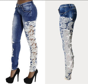 Lace Patchwork Hollow Skinny Straight High Waist Jeans - Shoes-Party - 1