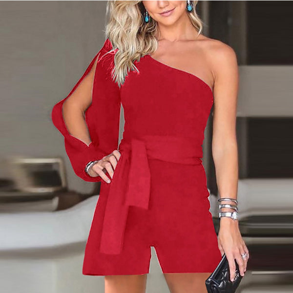 Long Sleeves One Shoulder Candy Color Romper