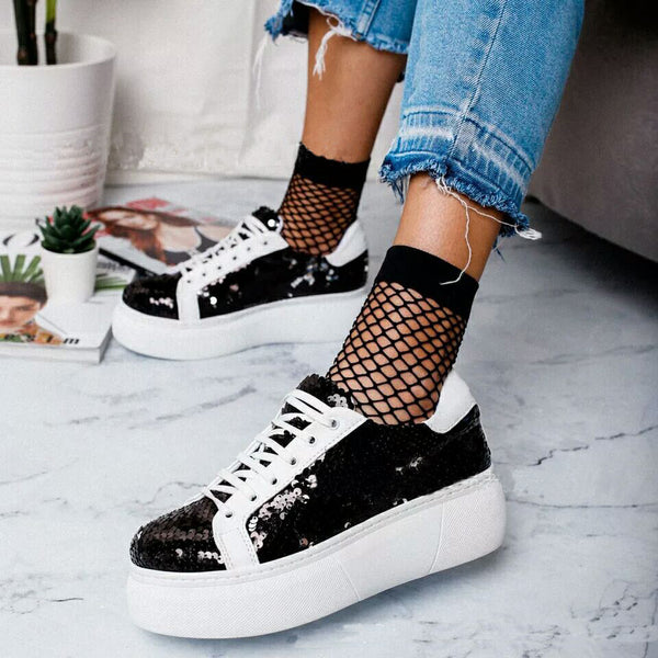 Cool Glitter Lace Up Chunky Sneakers