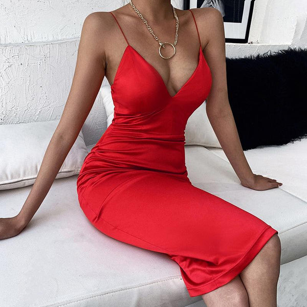 Spaghetti Strap V Neck Midi Dress
