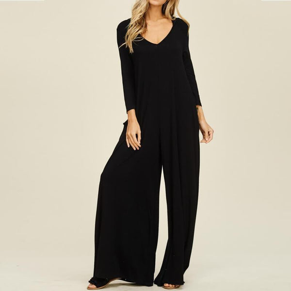 V-neck Long Sleeve Casual Wide Jumpsuit