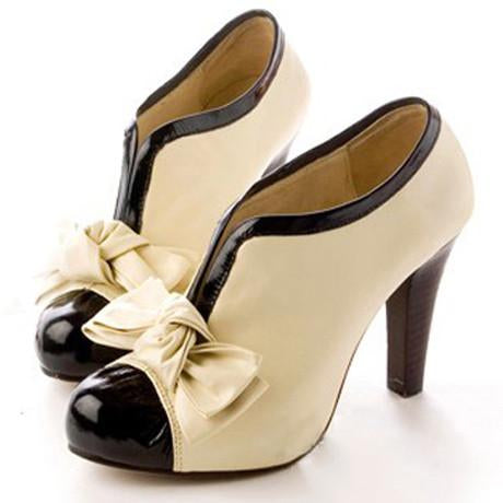 Adorable Bow Design High Heel Shoes in Beige - MeetYoursFashion - 1