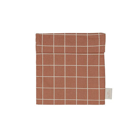 Haps Nordic - Sandwich bag, Check Warm Terracotta