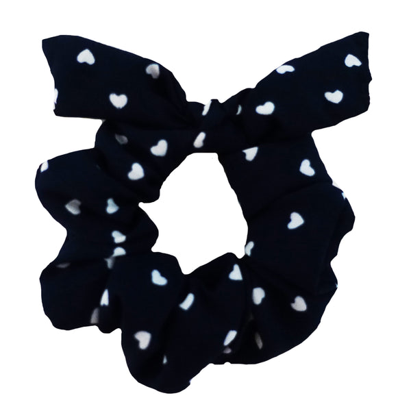Navy Blue with Hearts and Bow Scrunchie