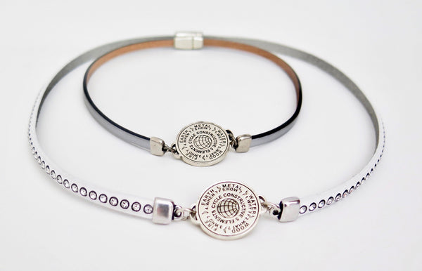 5 Elements Jewelry Bracelet or Pendant dark gray leather with Svarowski Crystals ***