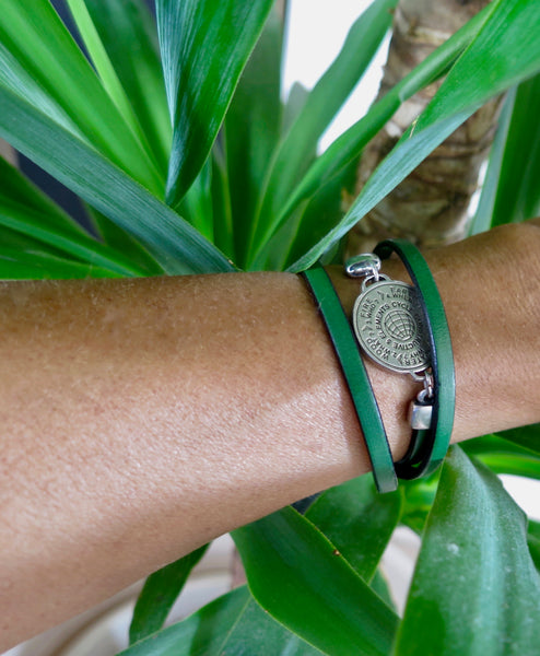 5 Elements Jewelry Bracelet or Necklace (two in one) green leather ***