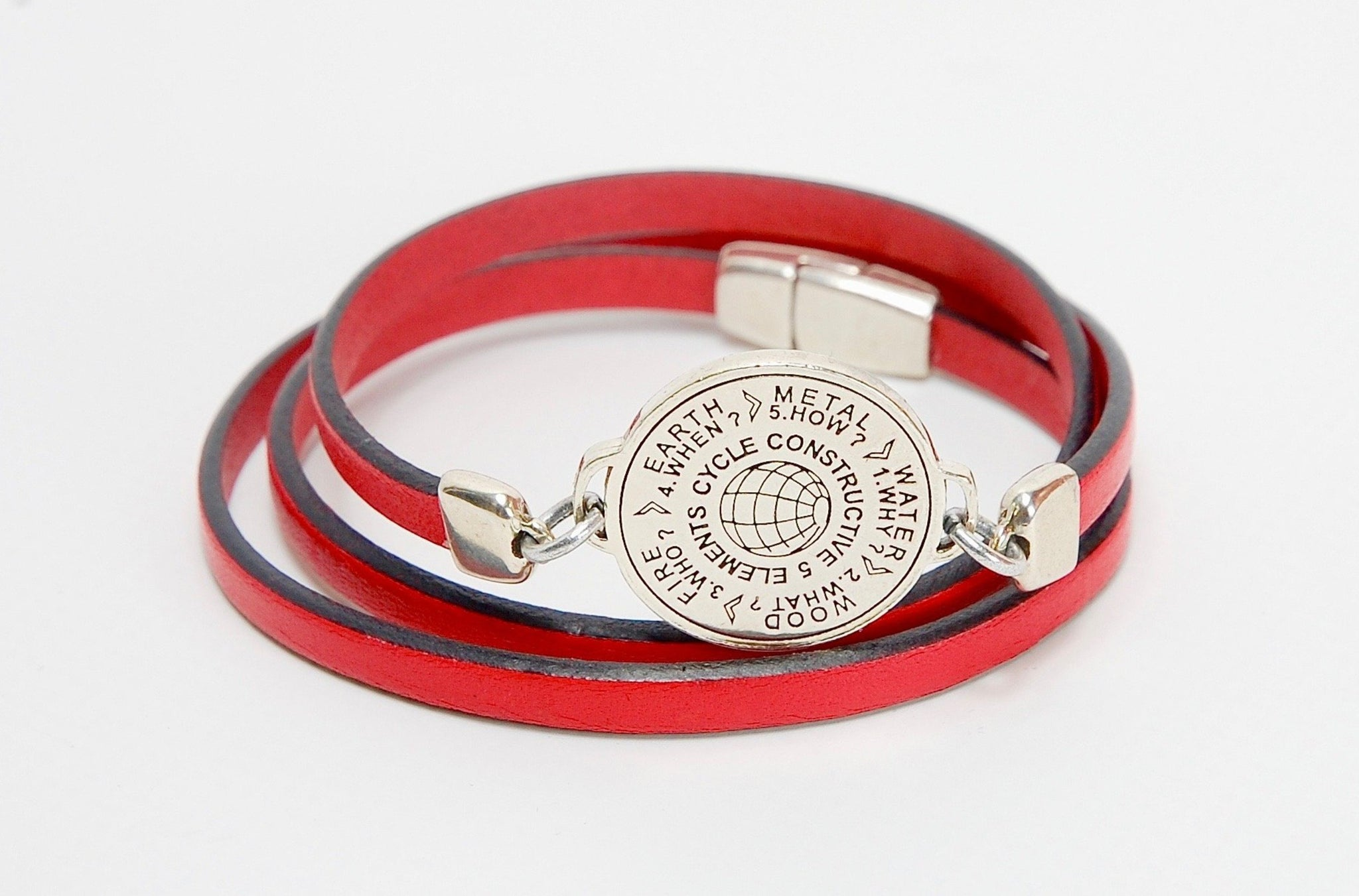 5 Elements Jewelry Bracelet or Necklace red  color leather ***