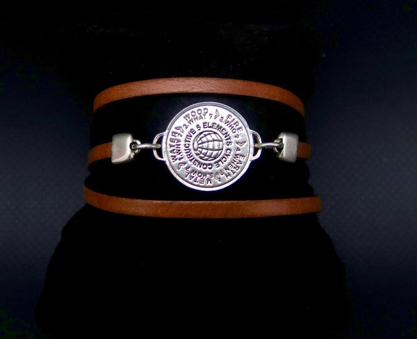 5 Elements Jewelry Bracelet and Pendant (two in one) brown leather motif Versace ***