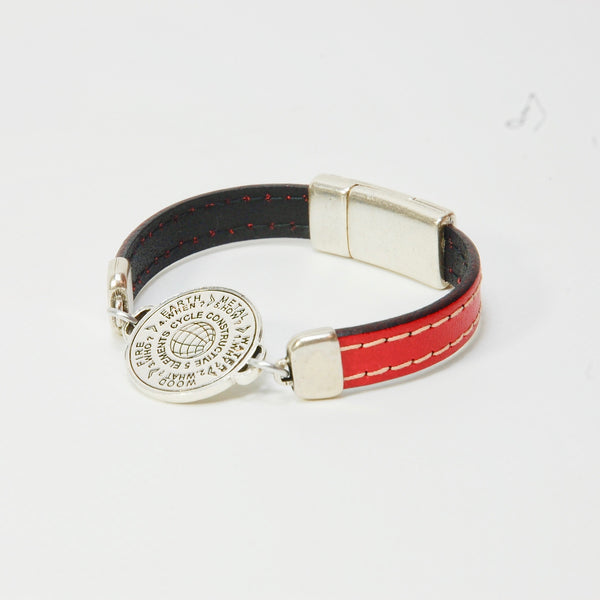 5 Elements Jewelry Bracelet one round red leather color