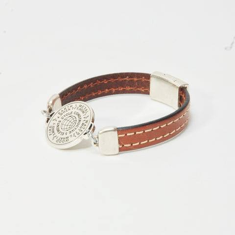 5 Elements Jewelry Bracelet one round  brown color leather *