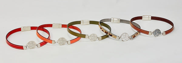 5 Elements Jewelry Bracelet and Necklace(two in one)brown color leather**