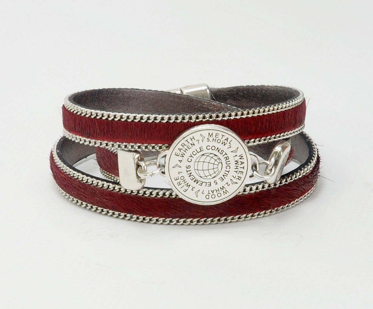 5 Elements Jewelry Bracelet or Necklace burgundy color leather