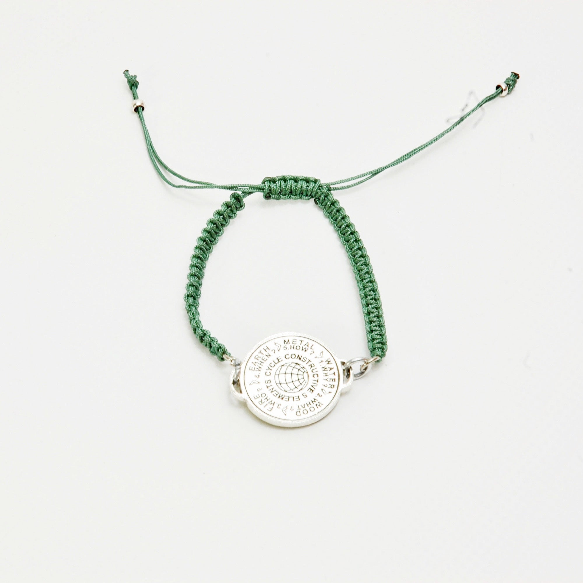 5 Elements Jewelry bracelet macrame green color cordon