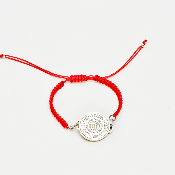 5 Elements Jewelry Bracelet Macrame red color cordon