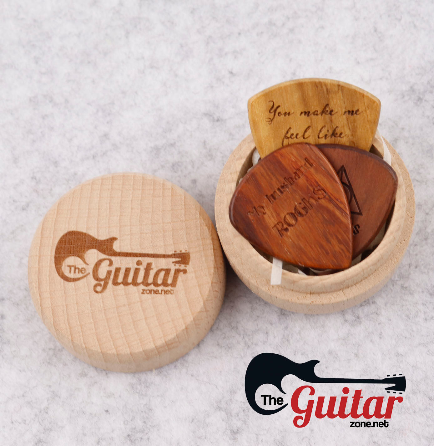 Wooden Round Box With Guitar Zone Logo