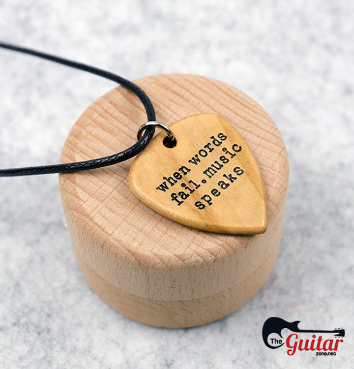 Guitar Pick Where Words Fail Music Speaks Guitar and Notes Hand Stamped Nec...