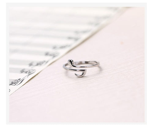 925 Sterling Silver Eighth Note Ring