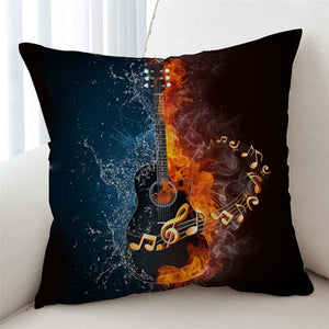 Fire and Water Guitar Pillow Case Cover