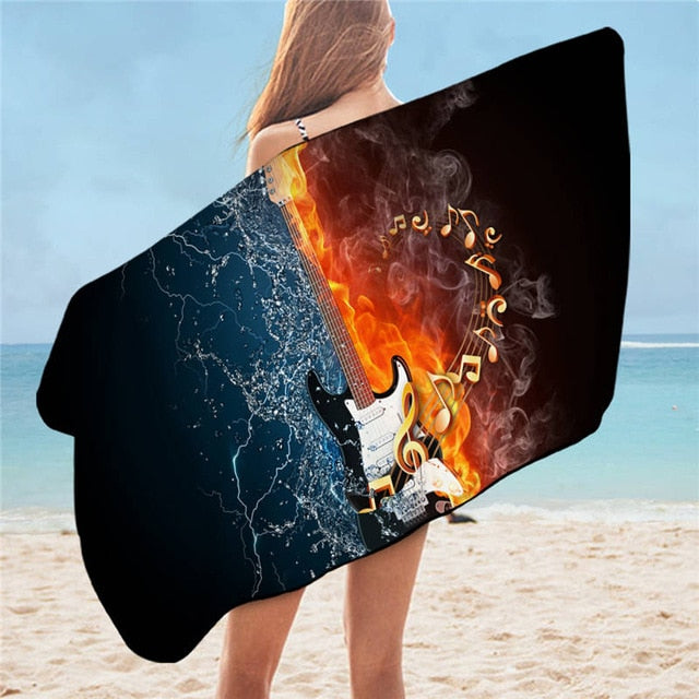 Fire and Water Bass Guitar Bath Towel