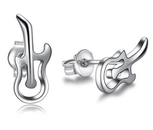 Silver Color Guitar Stud Earrings