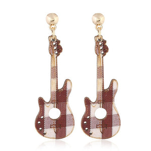 Wood Guitar Earrings