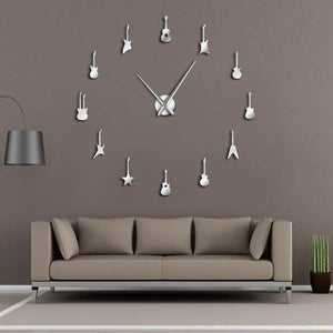 Guitar DIY Frameless Giant Wall Clock