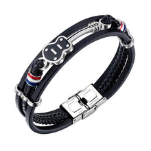 Leather Punk Stainless Steel Guitar Bracelets