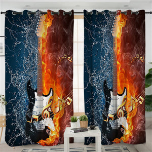 Fire And Water Guitar Living Room Curtain