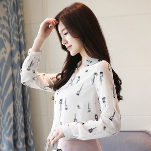 Guitar Print Chiffon Blouses Long Sleeve