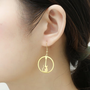 Stainless Steel Music Guitar Drop Earrings