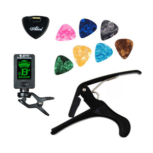Tool Kit Guitar Tuner+Capo+Plectrum Holder+7 Picks