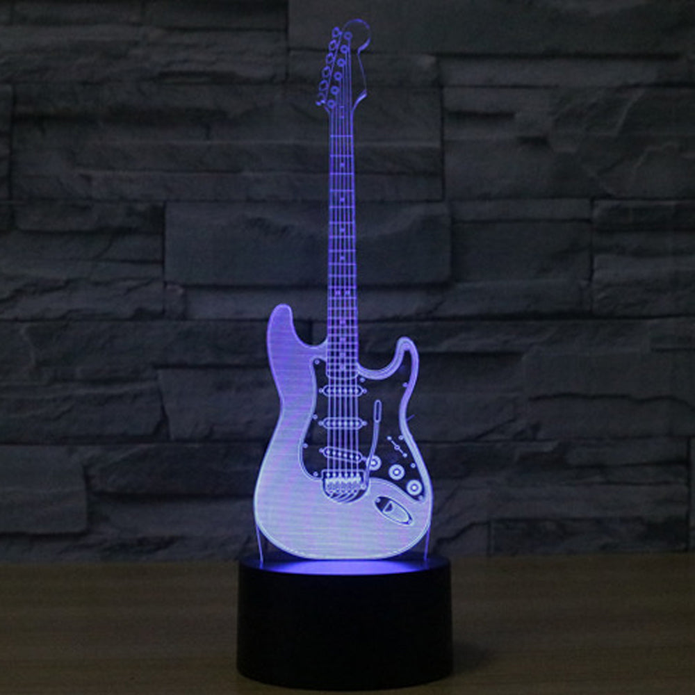 creative 3d light electric guitar model illusion 3d lamp led 7 color the guitar zone. Black Bedroom Furniture Sets. Home Design Ideas